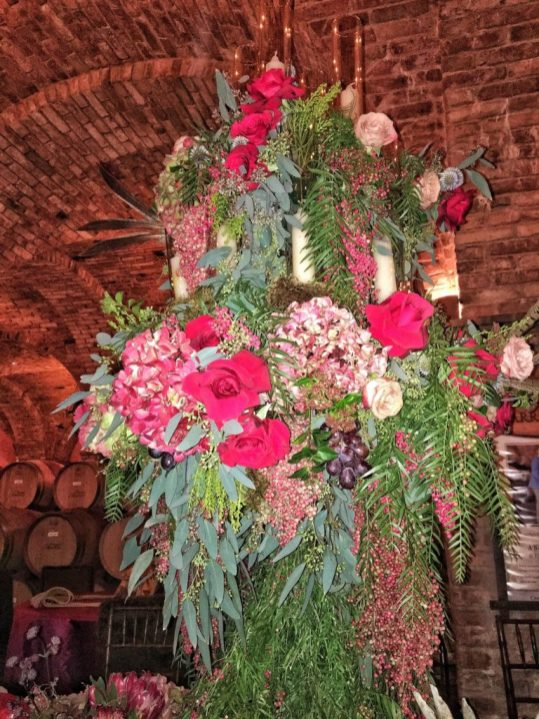 Flower arrangements at Castello di Amorosa in Napa California
