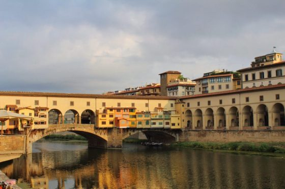 View of the Ponte Vecchio in Florence Italy