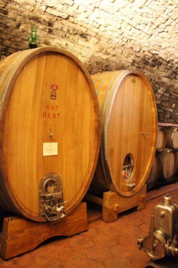 Barrels at Villa Calcinaia Winery in Tuscany Italy