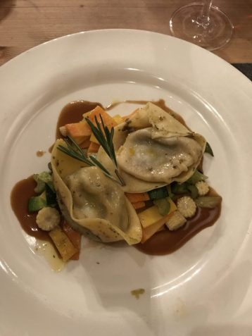 Lamb ravioli at at Restaurant Schaferstube in Zermatt Switzerland