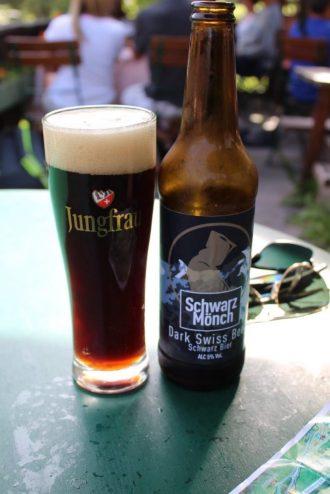 Beer at the biergarten in Gimmelwald Switzerland