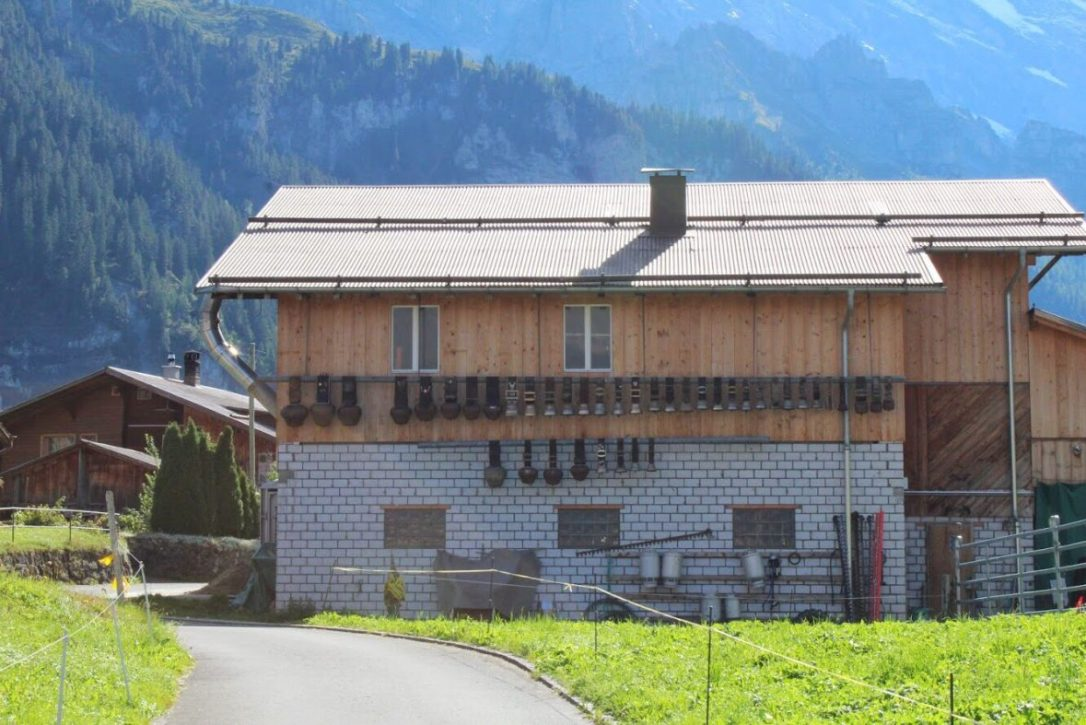 Cowbells on a home in Gimmelwald Switzerland