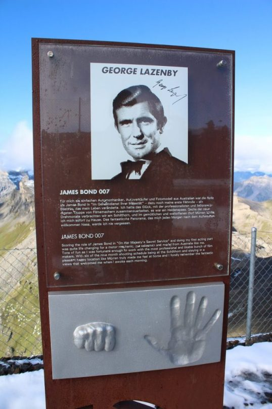 Sign about James Bond at the Schilthorn in Switzerland