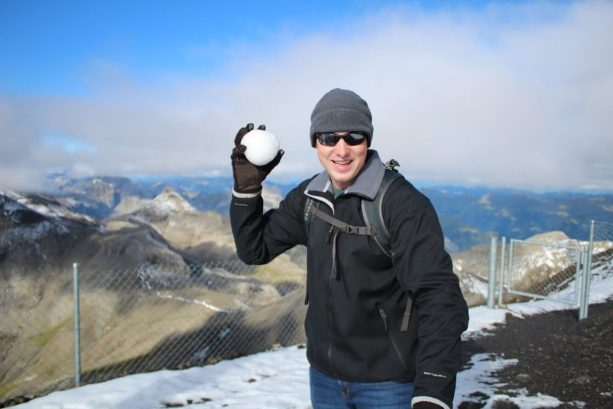 Eric throwing a snowball at the Schilthorn in Switzerland