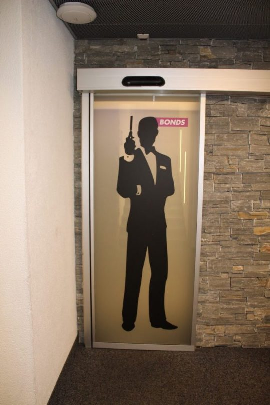 The James Bond bathroom doors at the Schilthorn in Switzerland