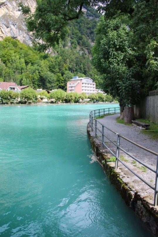 Blue river in Interlaken Switzerland