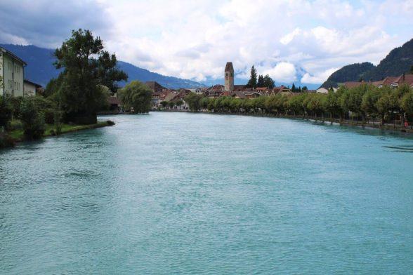 Arctic blue river in Interlaken Switzerland