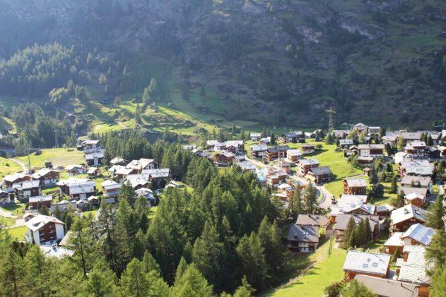 View of Zermatt Switzerland from the Gornergrat cogwheel train