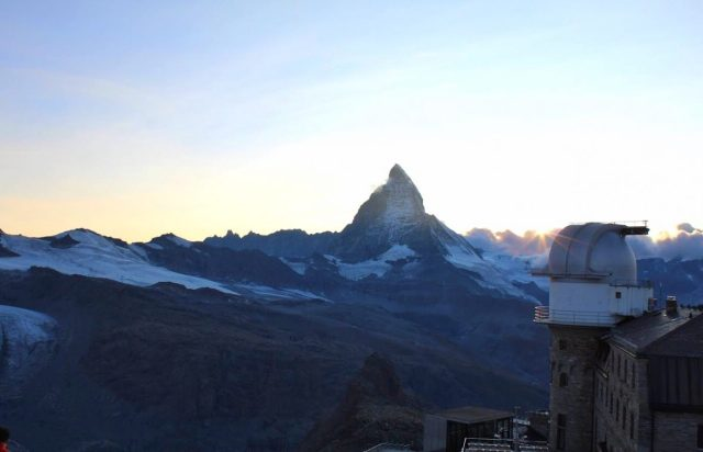 View of the Matterhorn at sunset at the Gornergrat in Zermatt Switzerland