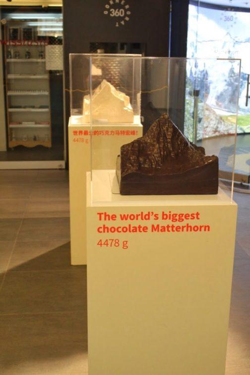 World's biggest chocolate Matterhorn at the Gornergrat in Zermatt Switzerland