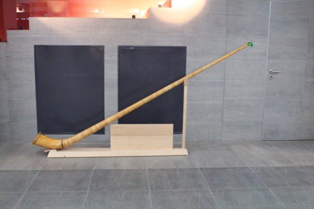 Traditional Swiss horn at the Gornergrat in Zermatt Switzerland