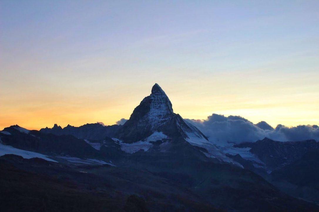Matterhorn at sunset from the Gornergrat in Zermatt Switzerland