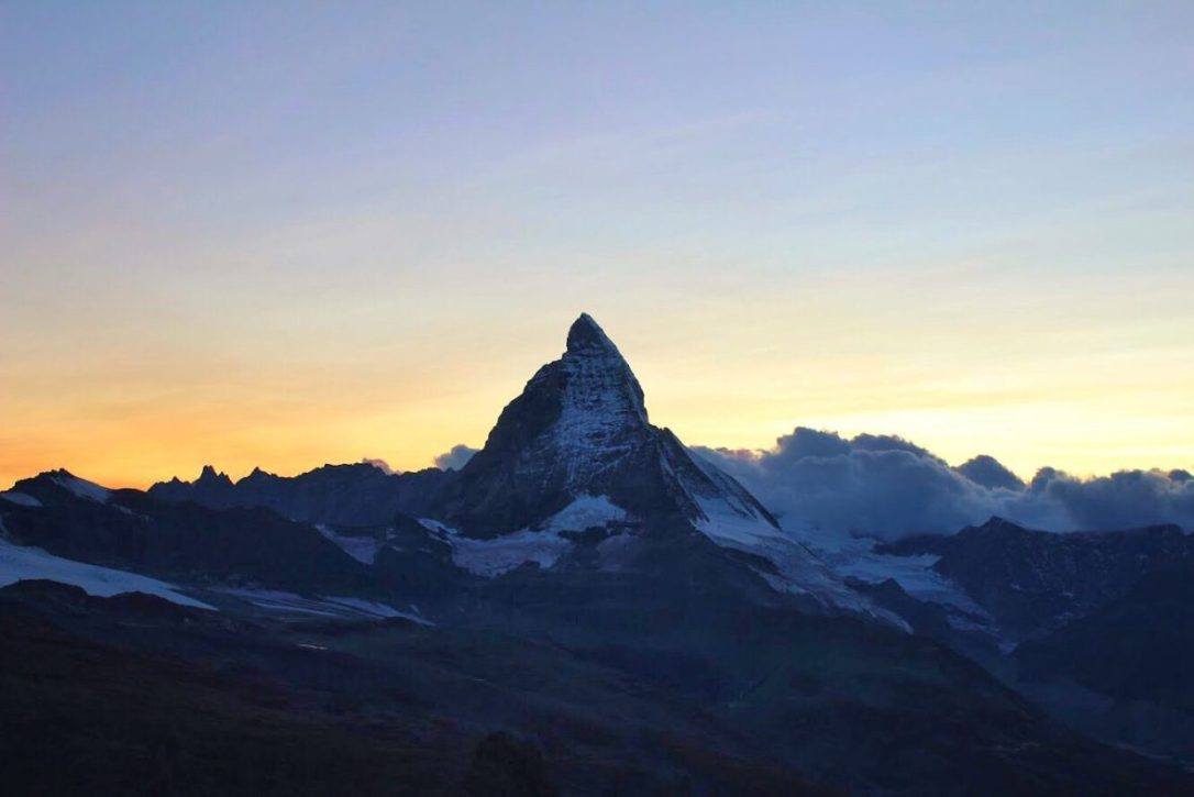 Matterhorn at sunset from the Gornergrat in Zermatt Switzerland