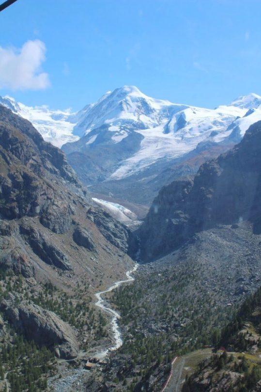View from the gondola going up to the Matterhorn Glacier Paradise in Zermatt, Switzerland