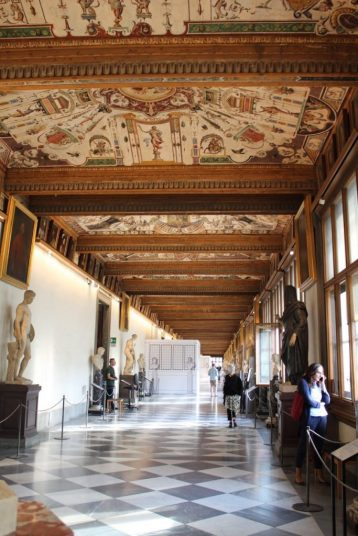 Hallway of sculptures in the Uffizi Museum in Florence Italy