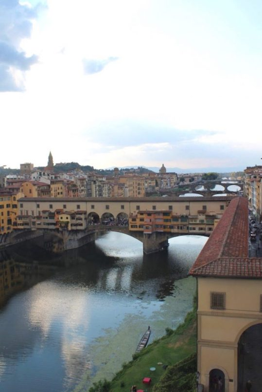 View of the Arno river from the Uffizi museum in Florence Italy