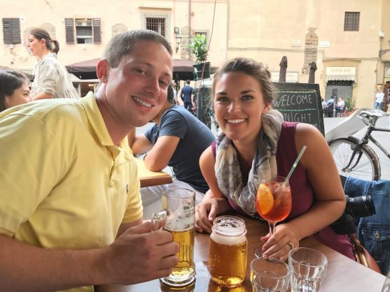 Eric and Lauryn at a cafe in Florence Italy
