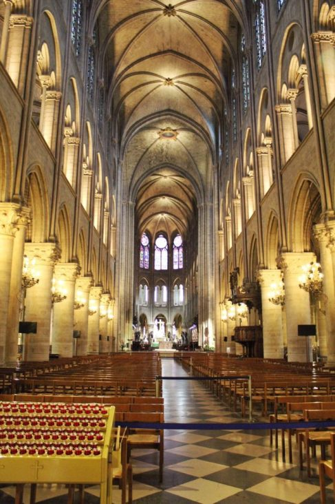 Inside of the Notre Dame with no crowds