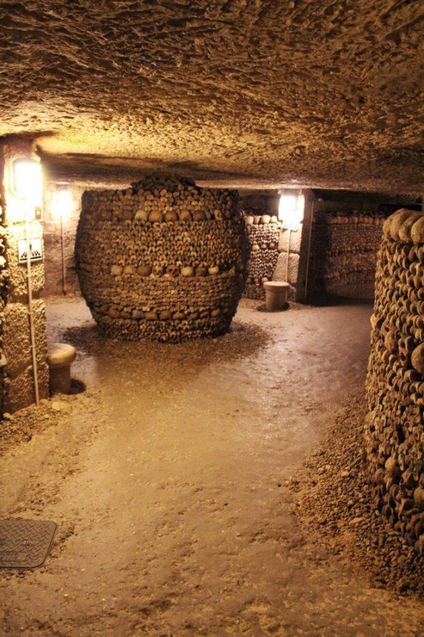 Bones inside the Catacombs in Paris France