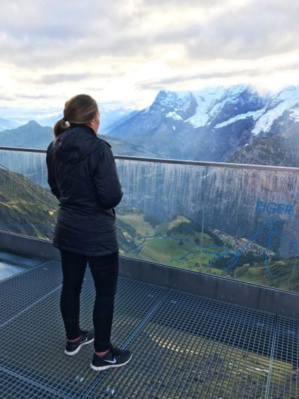 Standing at the edge of a cliff in Birg Switzerland