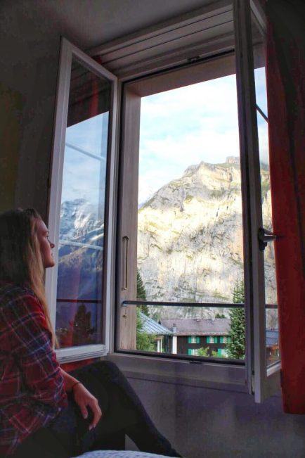 The view outside our room at Hotel Jungfrau in Murren Switzerland