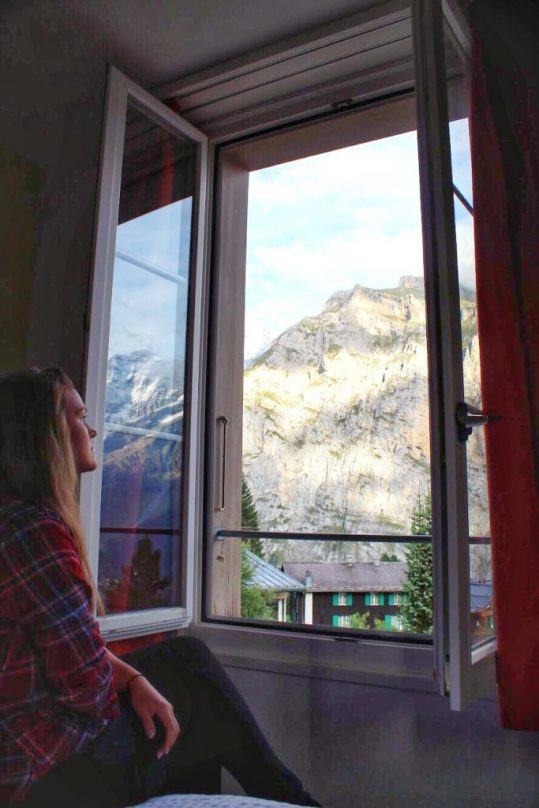 Looking out on the Alps from Hotel Jungfrau in Murren Switzerland