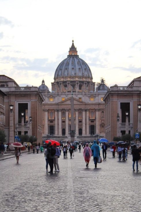 St. Peter's Basilica at sunset in Rome Italy