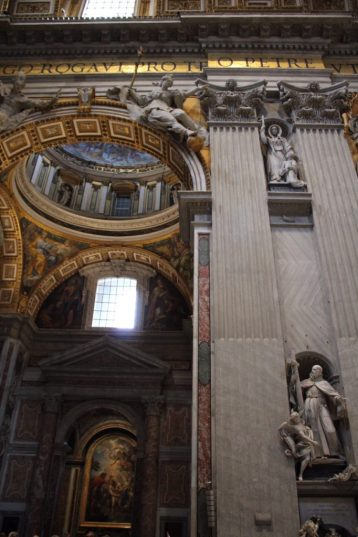 Inside St. Peter's Basilica at the Vatican in Rome Italy