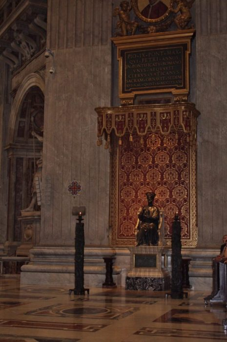 Statue of Saint Peter inside St. Peter's Basilica in Rome Italy