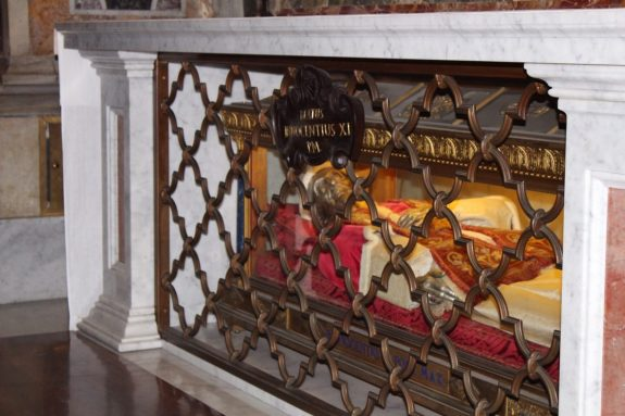 Embalmed Pope inside St. Peter's Basilica in Rome Italy