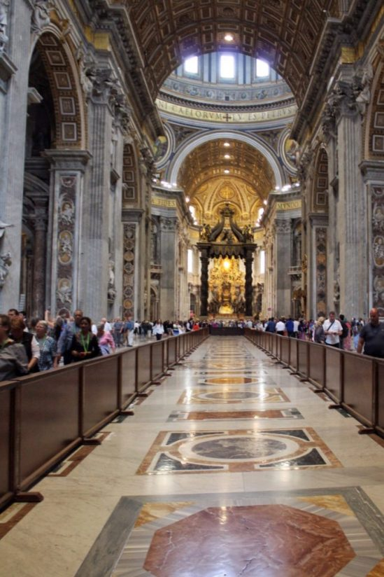 inside St. Peter's Basilica in Rome Italy