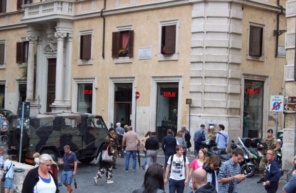Military standing outside of the Pantheon in Rome Italy