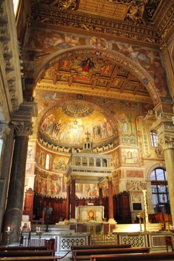 Inside a church in Trastevere in Rome Italy