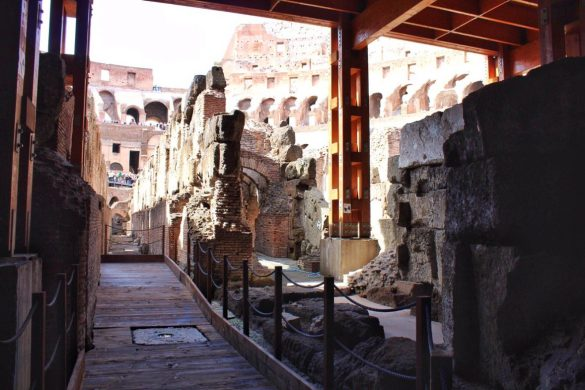 The underground areas of the Colosseum in Rome Italy