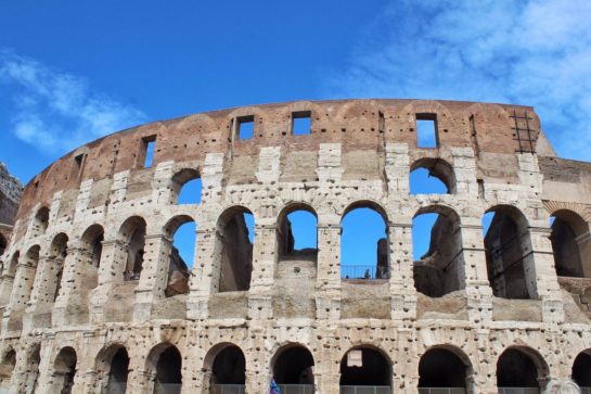 The outside of the Colosseum in Rome Italy