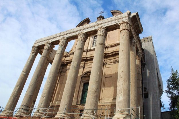 Outside of the Temple of Divus Romulus in Rome Italy