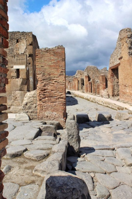 A road inside the ruined city of Pompeii, Italy
