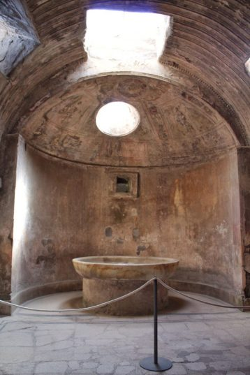 Inside a bathhouse at the ruins of Pompeii