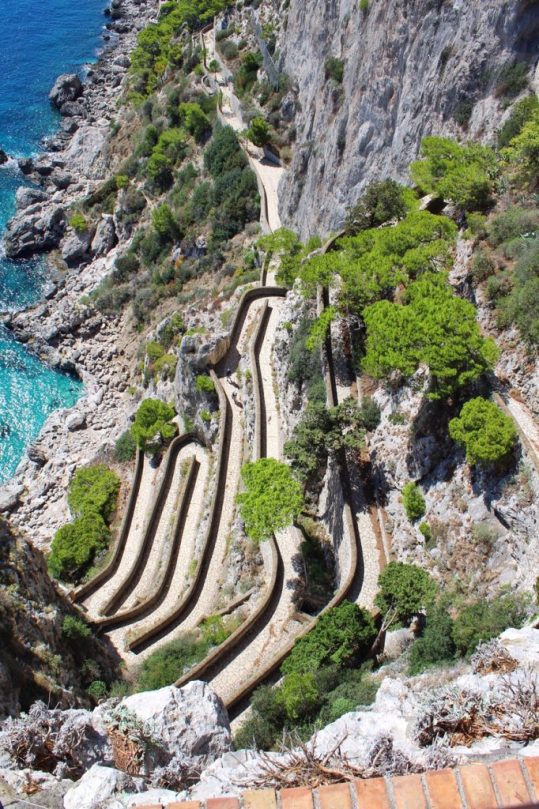 View of the via Krupp in Capri, Italy