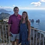Eric and Lauryn standing on top of Mount Solaro in Capri, Italy
