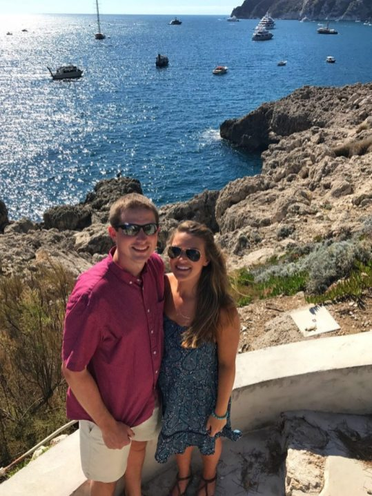 Lauryn and Eric after hiking down to the Faraglioni in Capri, Italy