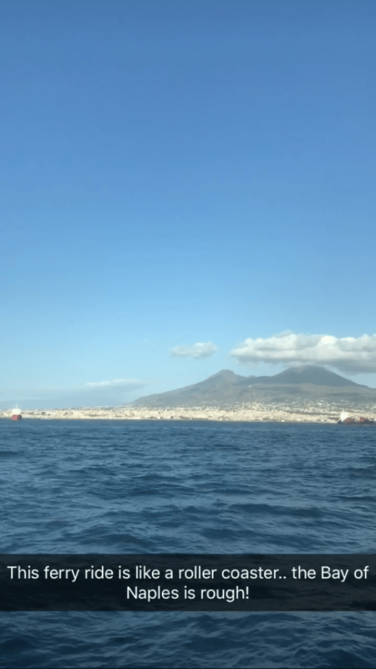 View from the ferry from Naples to Sorrento Italy