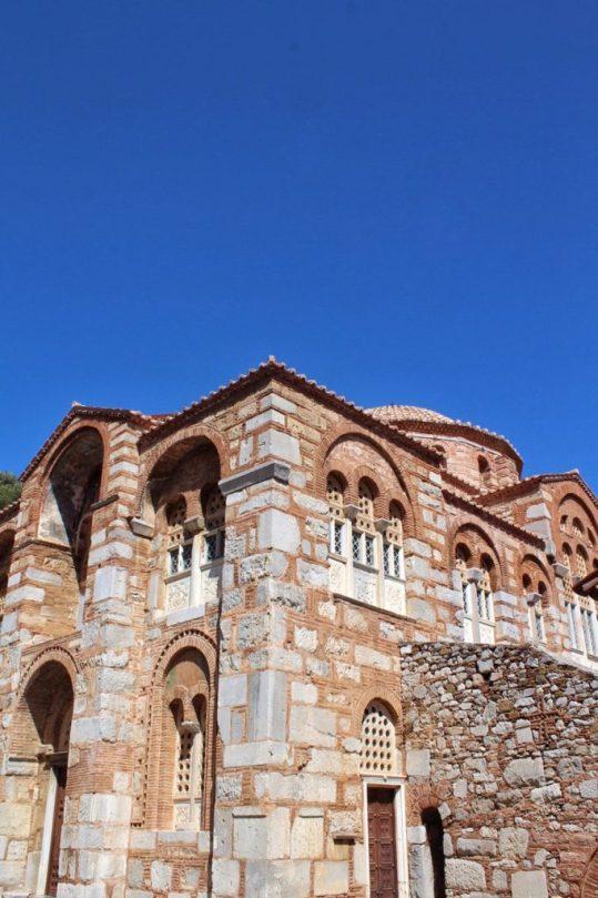 Outside the cathedral Hosios Loukas Monastery near Delphi, Greece