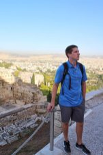 Eric listening to Rick Steves audio guide at the Acropolis - Athens, Greece - Eric