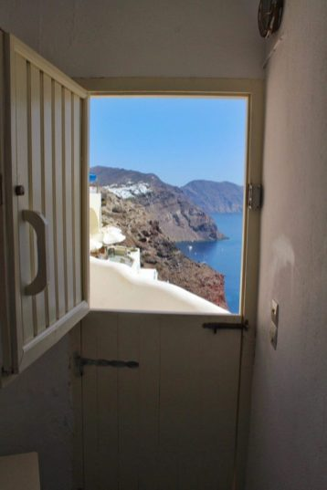 Front door to our Airbnb in Santorini