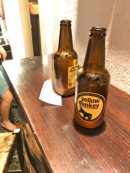 Yellow Donkey Beer at Pito Gyros restaurant in Oia Santorini