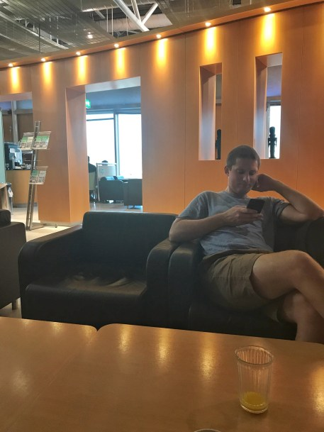 Eric relaxing in the Athens airport lounge before our flight