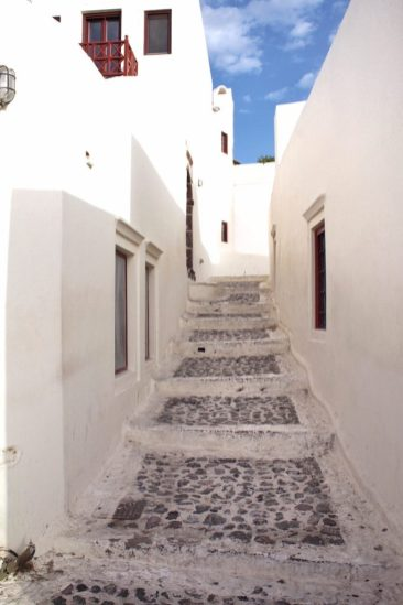 Whitewashed alleyway in Oia, Santorini