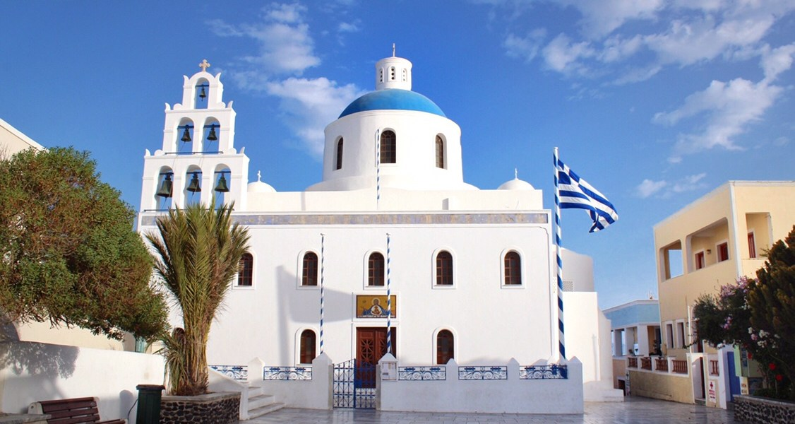 Blue domed church in Oia