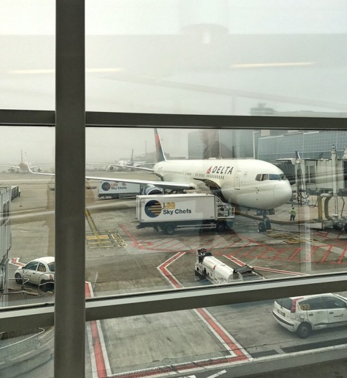 View of a plane from the lounge windows